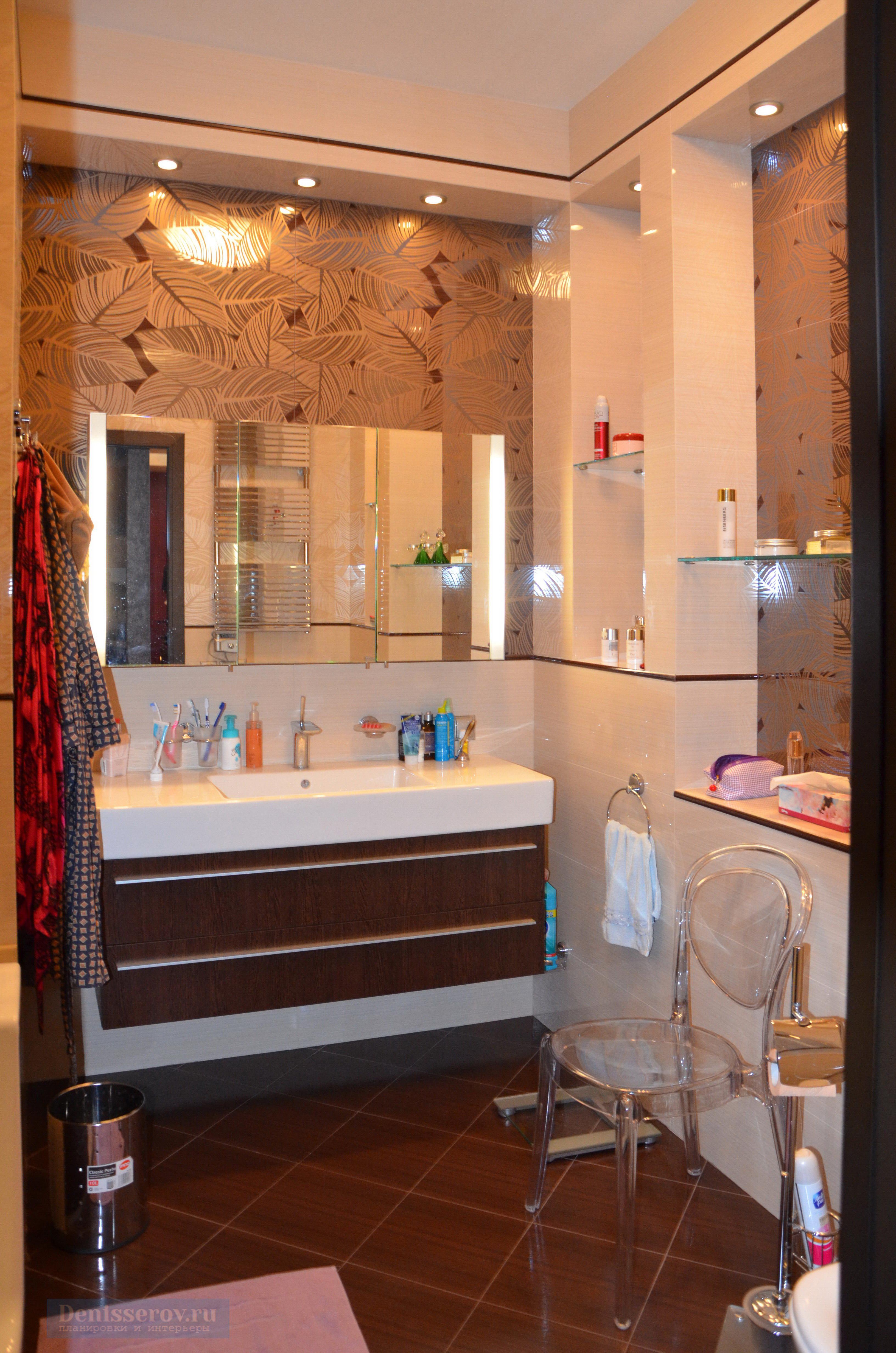 ванна 7 кв.м. бежево-коричневая плитка