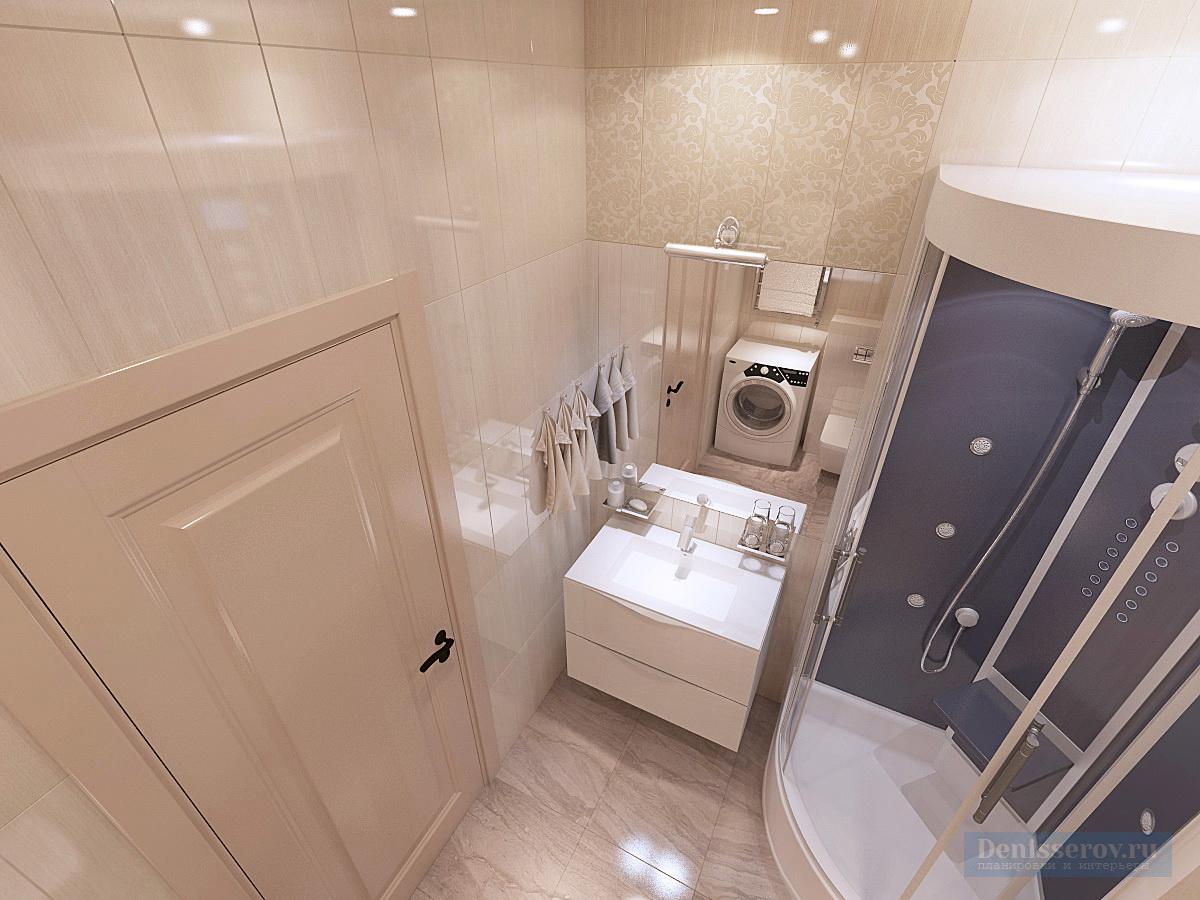 ванна 4 кв.м. в однокомнатной квартире