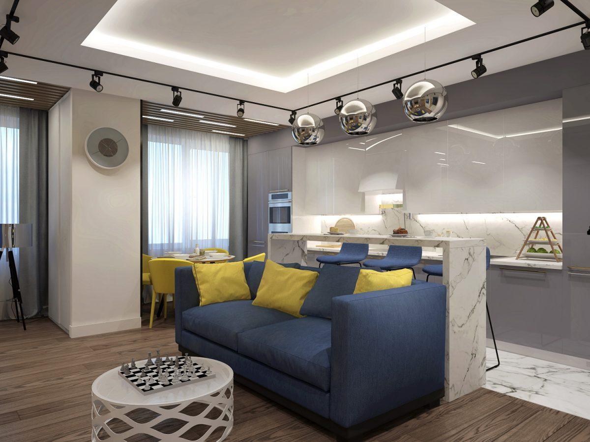 Дизайн-проект двухкомнатной квартиры 65 кв.м.