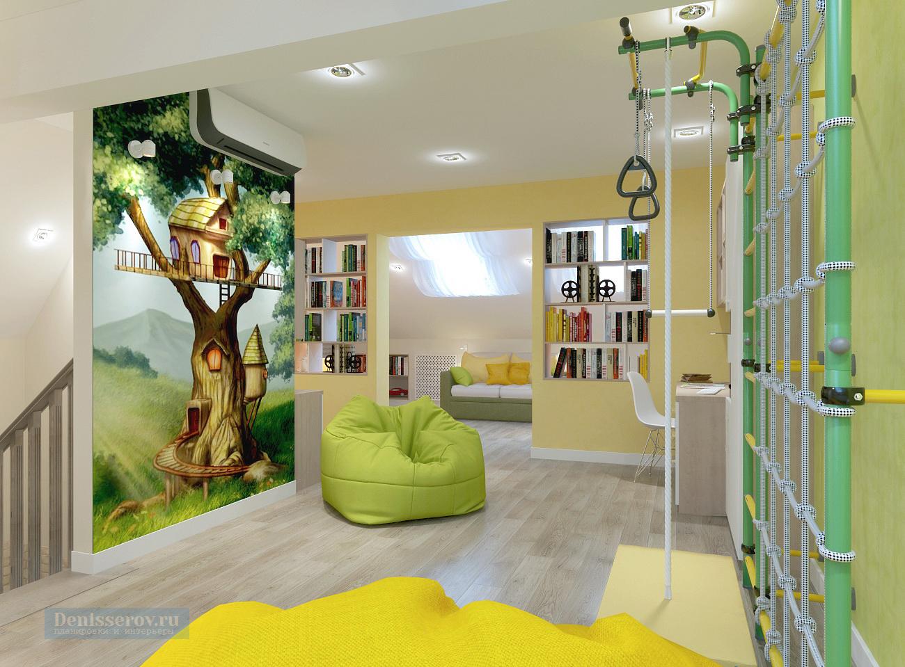 детская мансарда в загородном доме в зеленом цвете