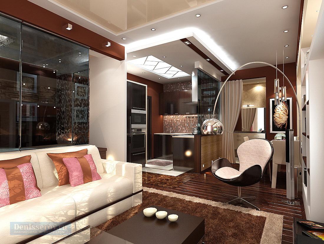 дизайн проект однокомнатной квартиры 45 кв.м. в современном стиле
