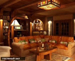 гостиная в загородном доме в стиле шале