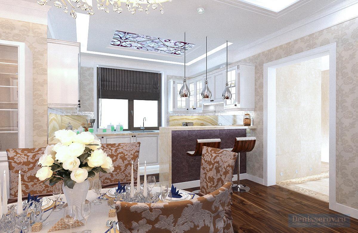 кухня-гостиная в классическом стиле 30 кв.м.