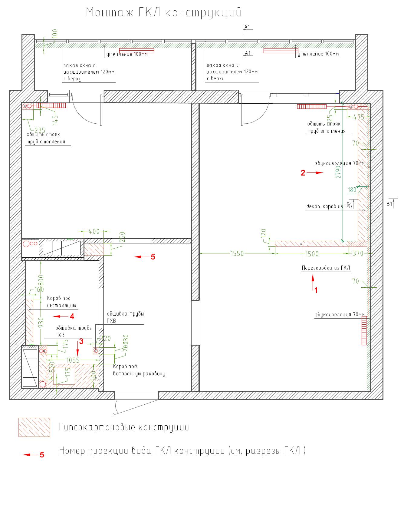 план гипсокартоновых конструкций и стен