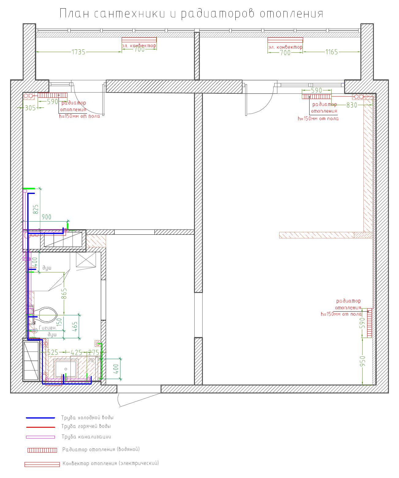 план инженерных систем отопления и сантехники