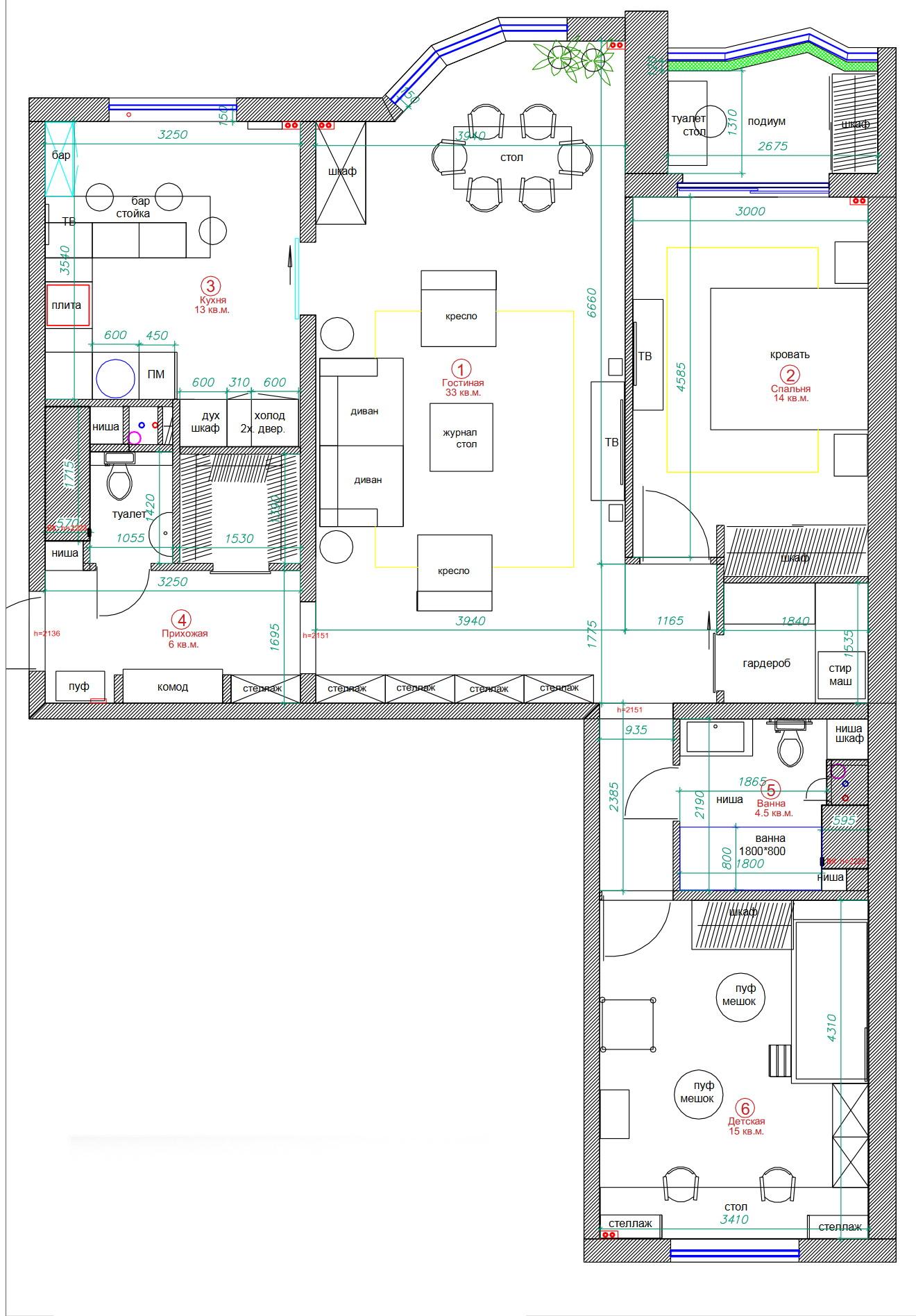 План схема 3 комнатной квартиры