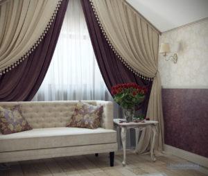 спальня с бардовым цветом 18 кв.м.