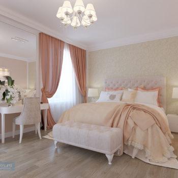 спальня 20 кв.м. в персиковом цвете