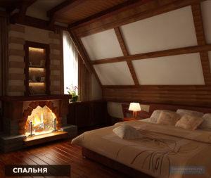 спальня в загородном доме в стиле шале