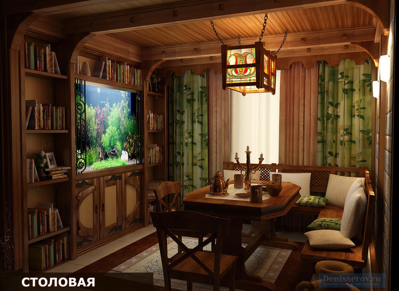 столовая в загородном доме в стиле шале