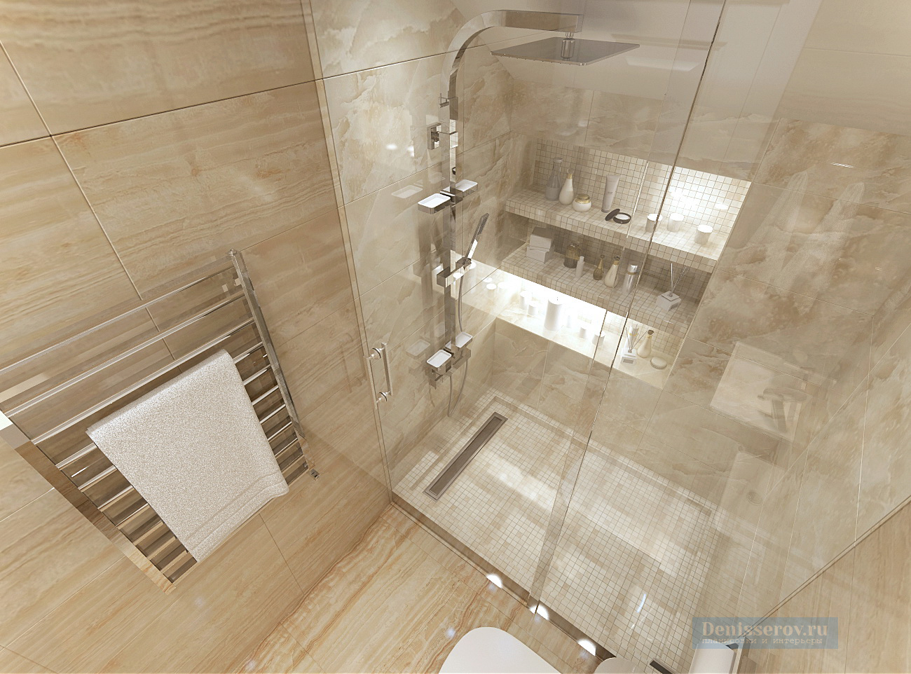ванна 4 кв.м. в золотой плитке