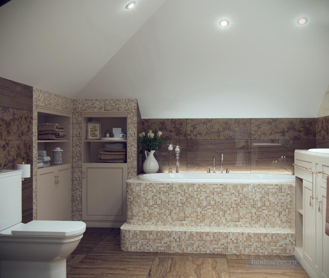 ванна 12 кв.м. с бежево-коричневой плиткой