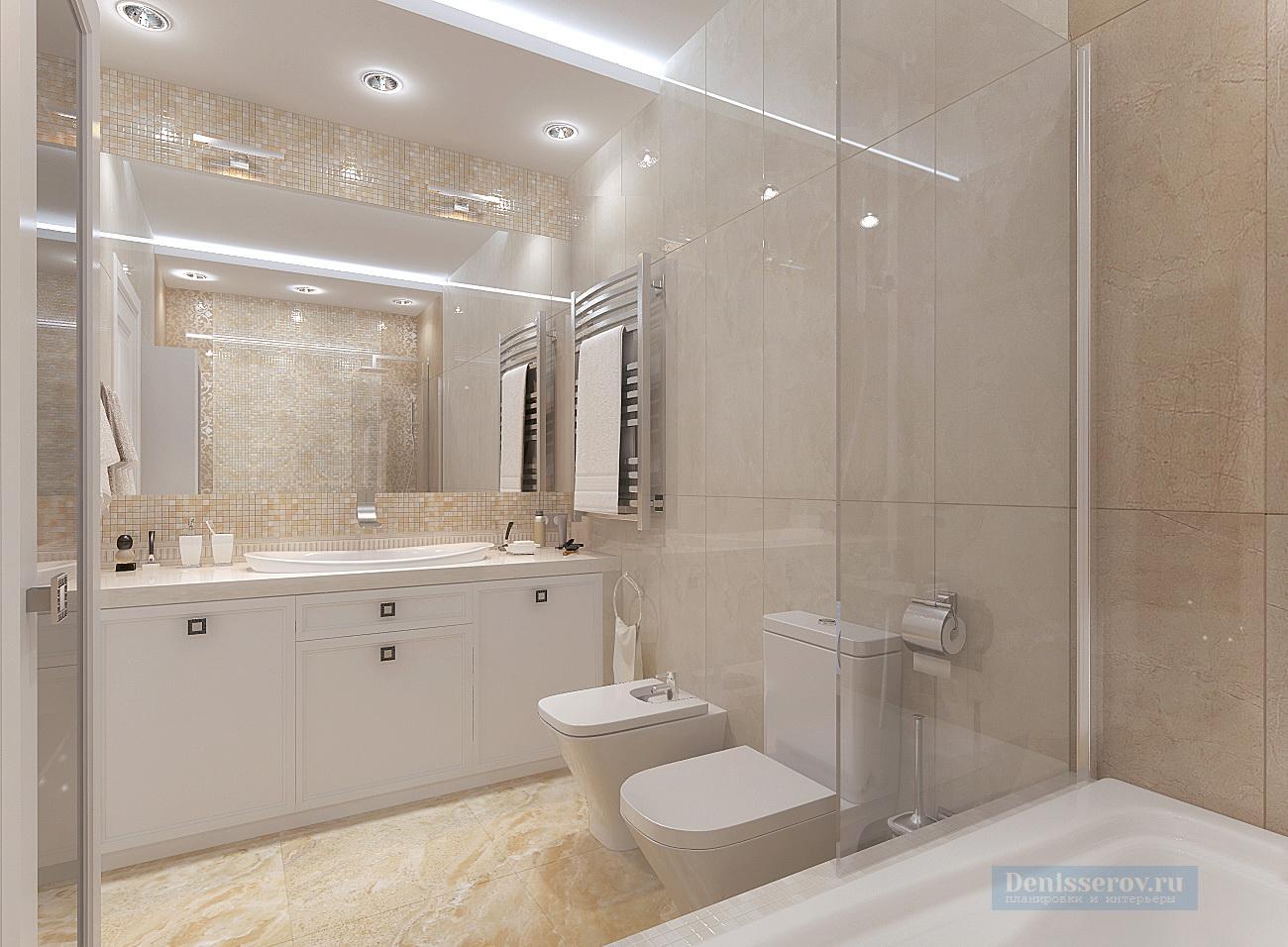 ванна 7 кв.м. в бежево-белой гамме