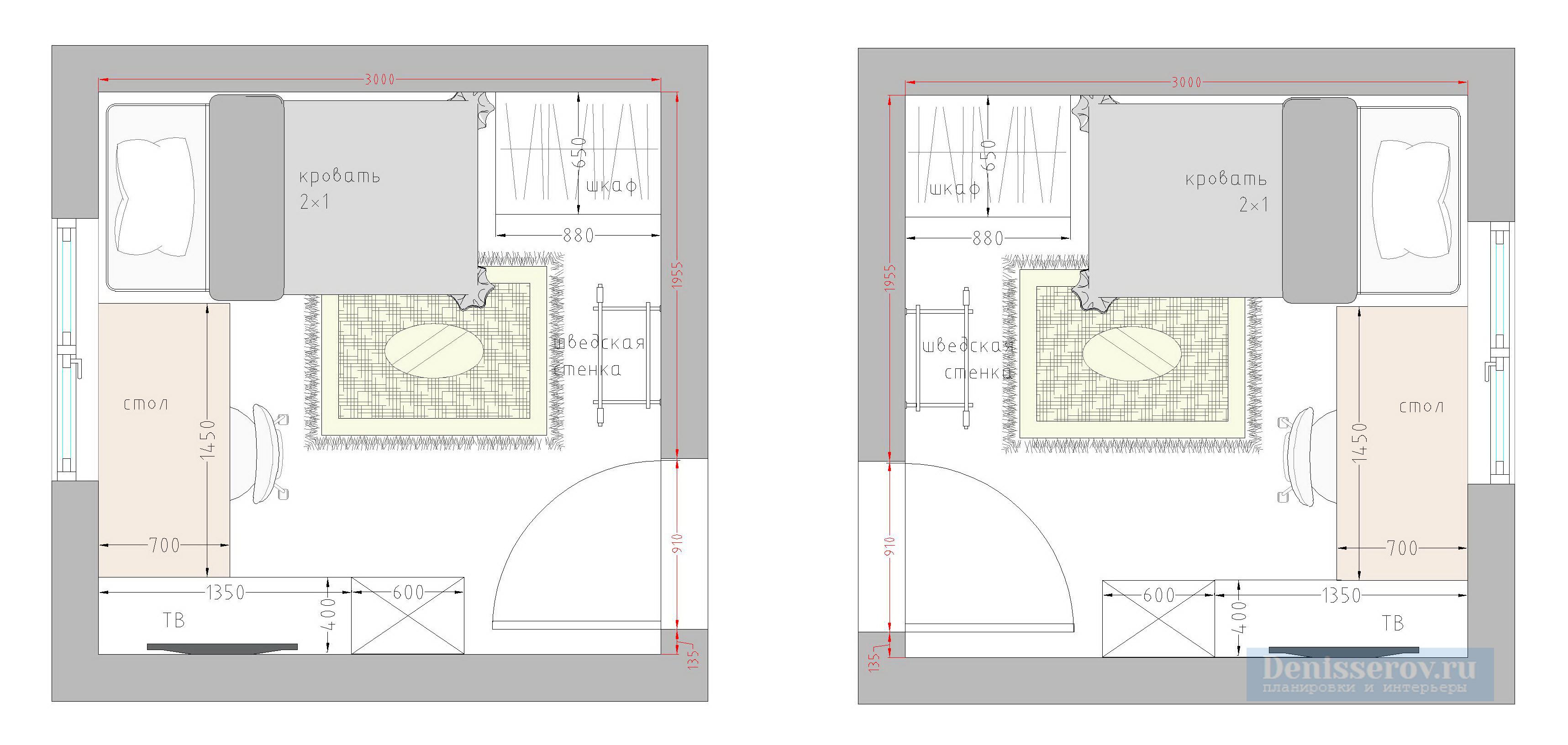 Планировка детской комнаты 9 кв м фото с размерами