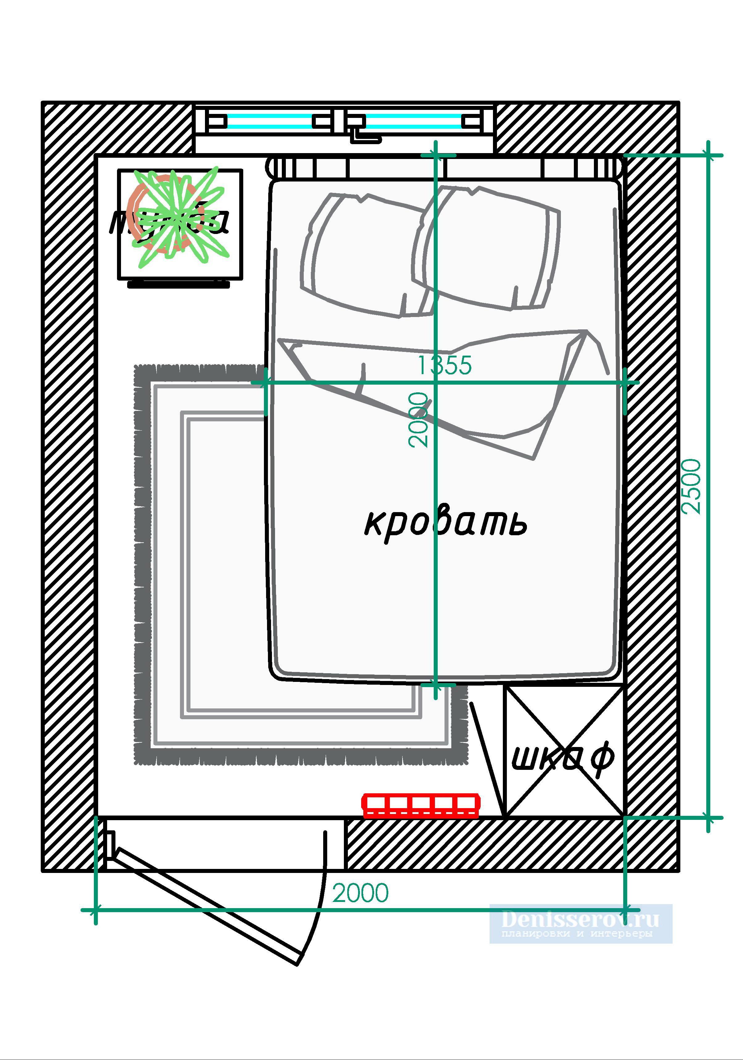 планировка спальни 5 кв м с размерами