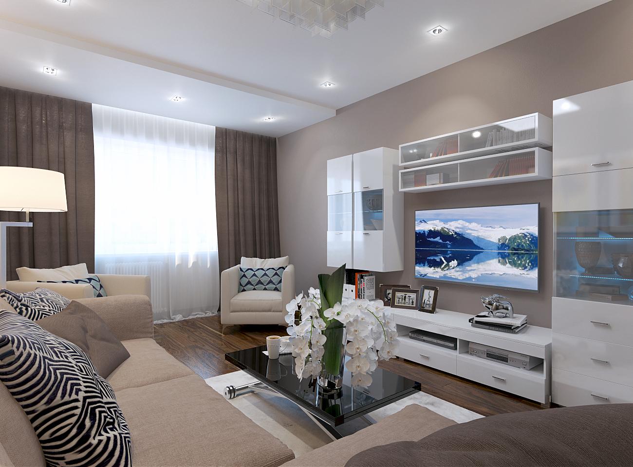 гостиная 17 кв.м. в современном стиле