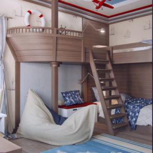 дизайн детской в морском стиле 20 кв.м.