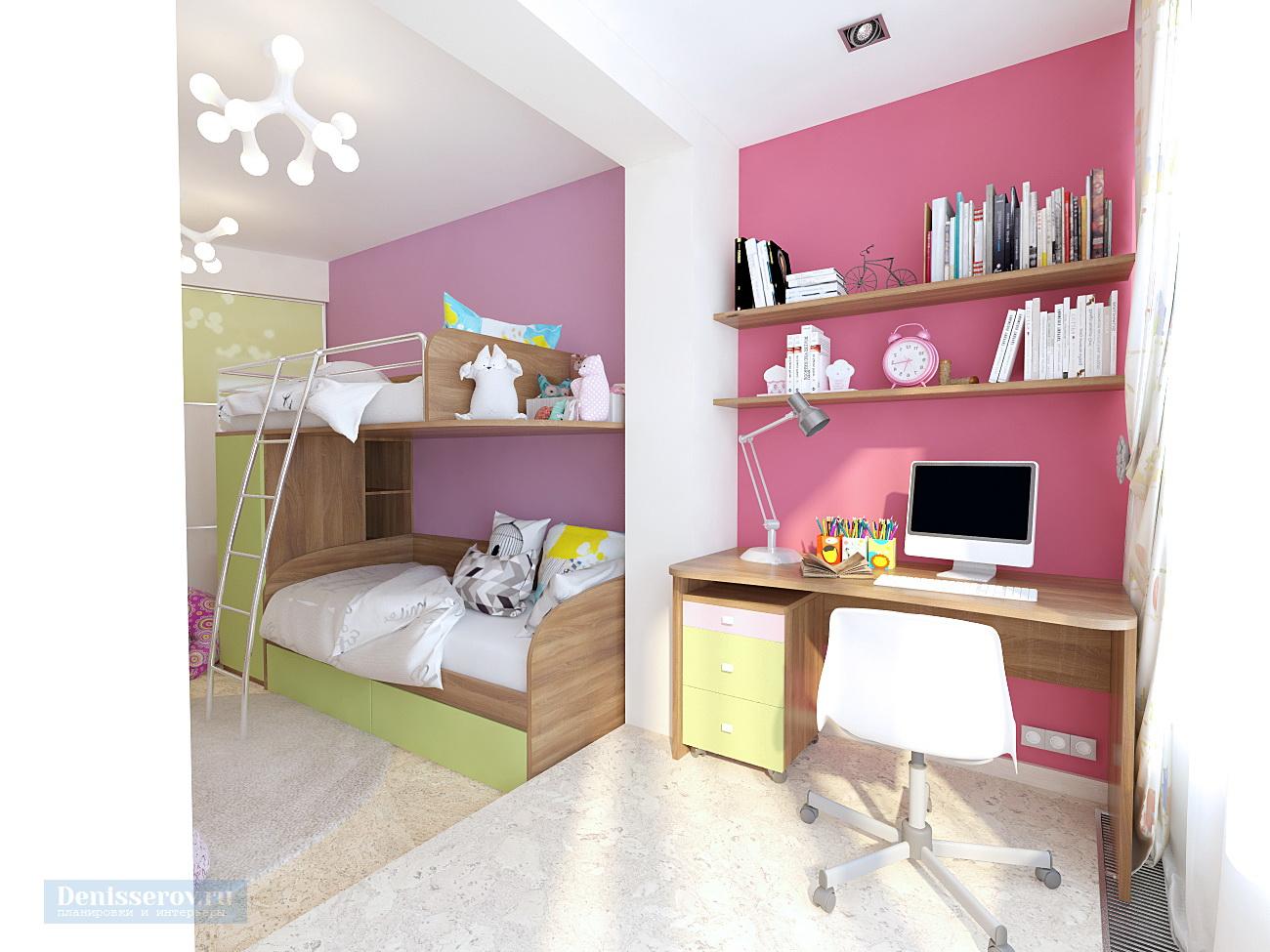 Дизайн проект детской 18 кв.м. для двух девочек