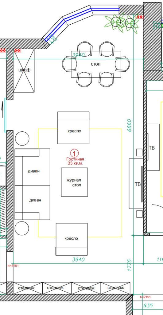 планировка гостиной 30 кв.м.