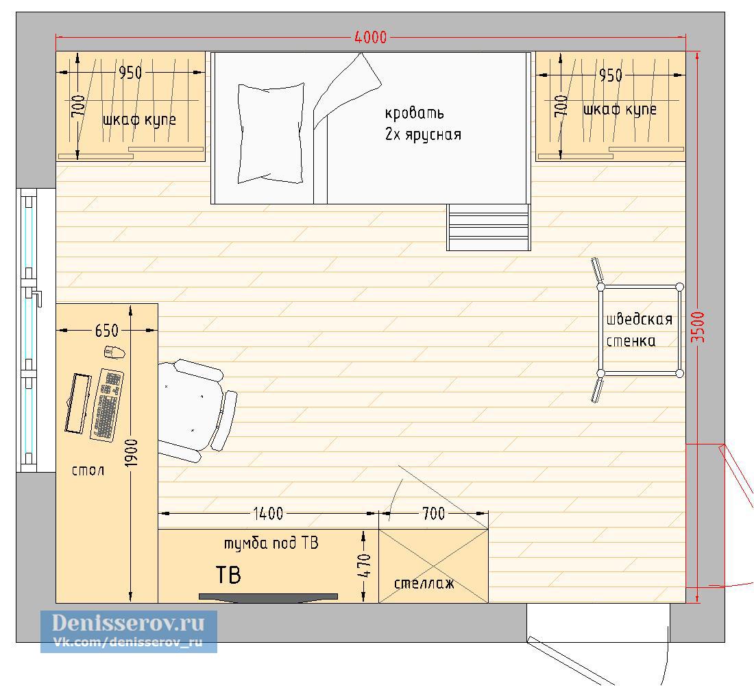 Планировка детской комнаты 14 кв