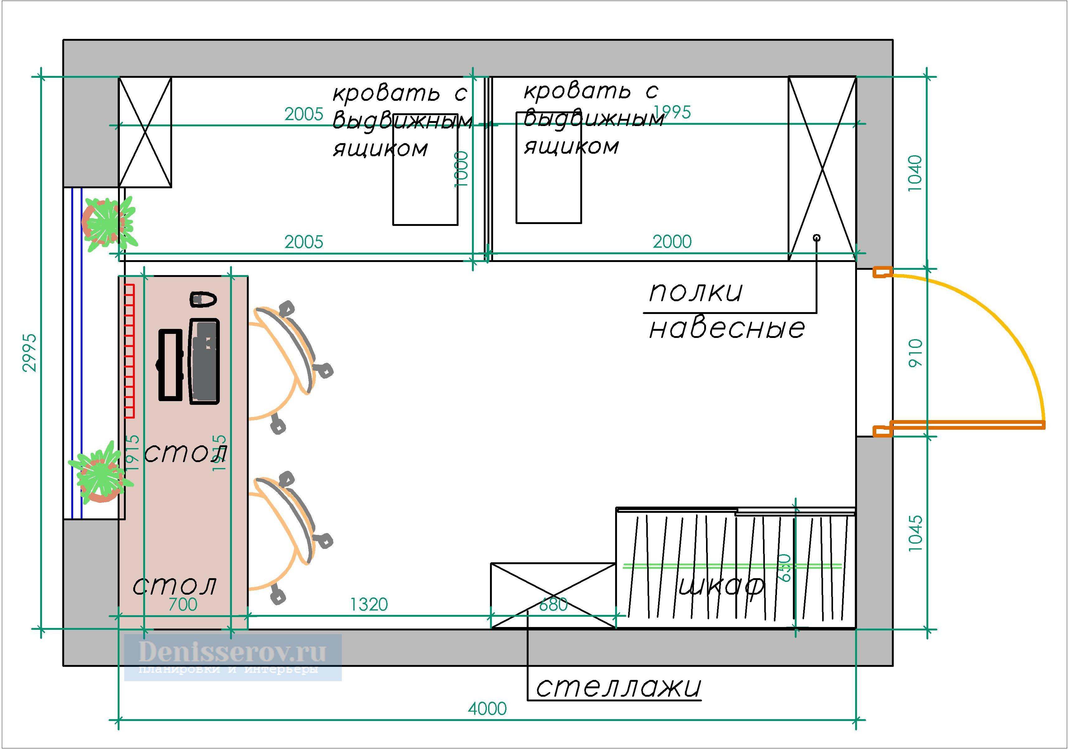 Планировка детской комнаты 12 кв.м. для двух детей.