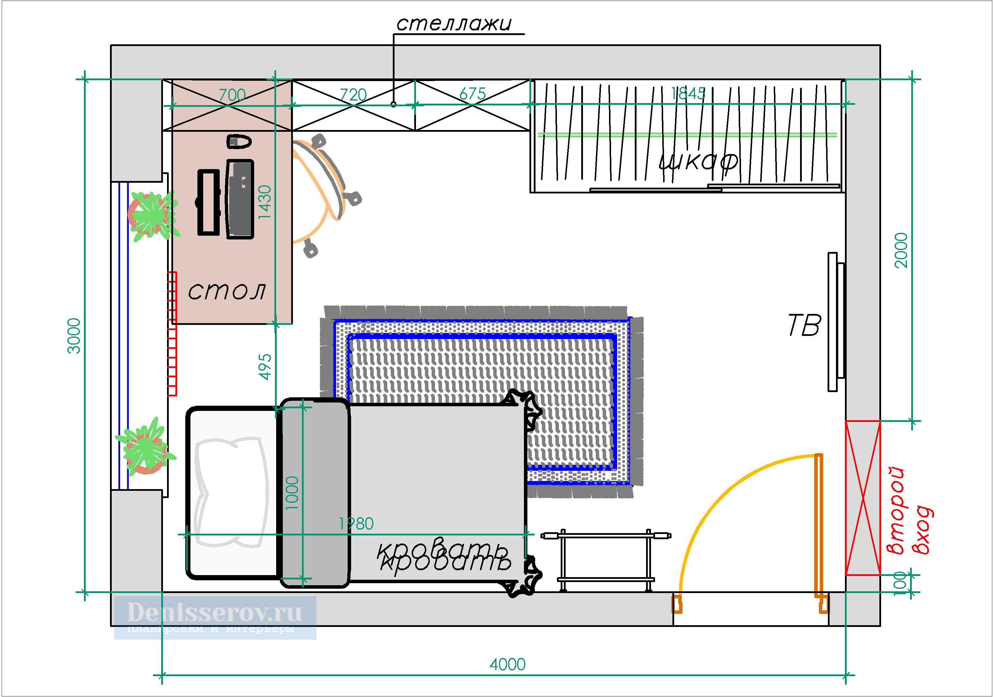 планировка детской 12 кв.м. вход с угла