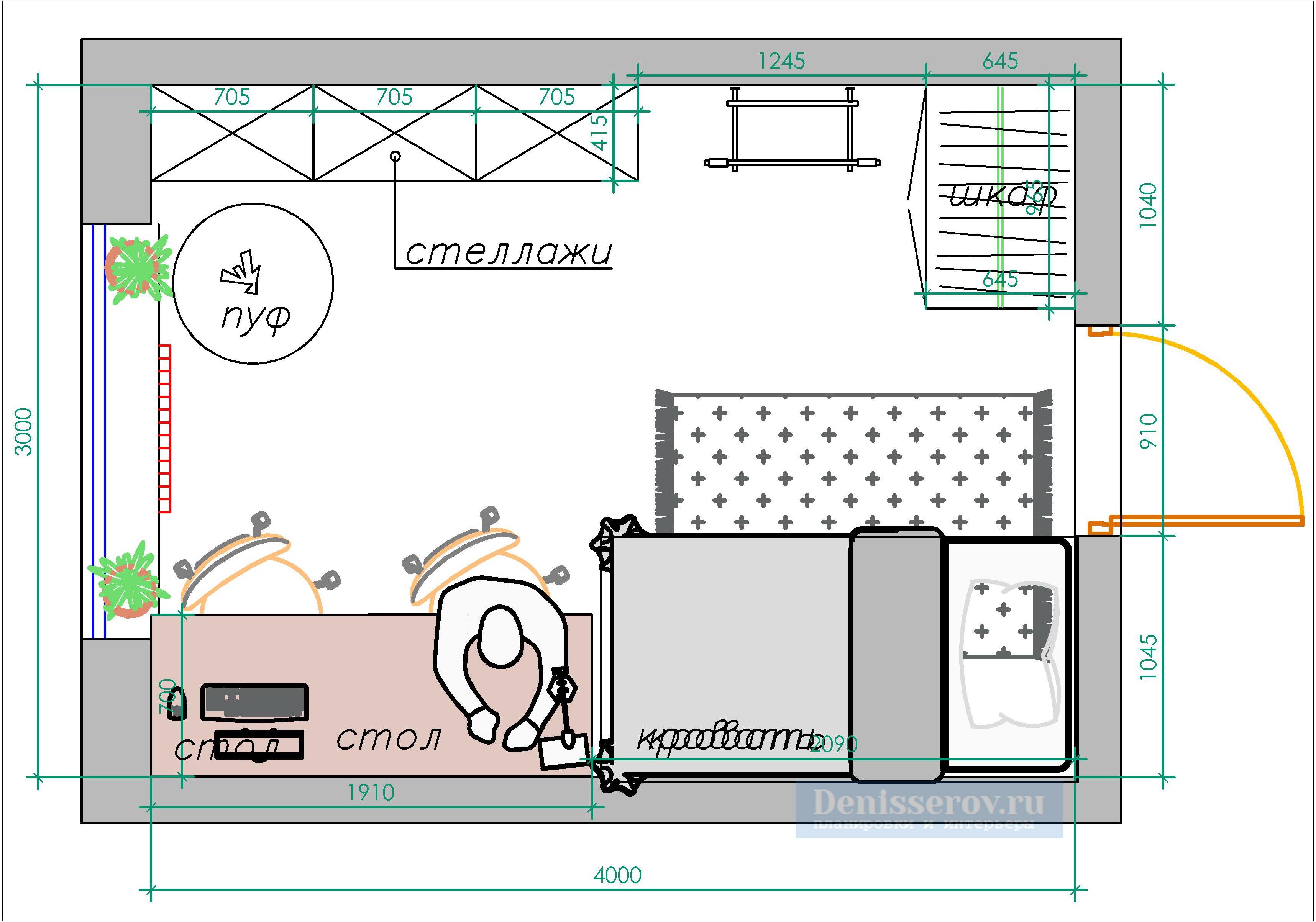 планировка детской 12 кв.м. со входом по центру