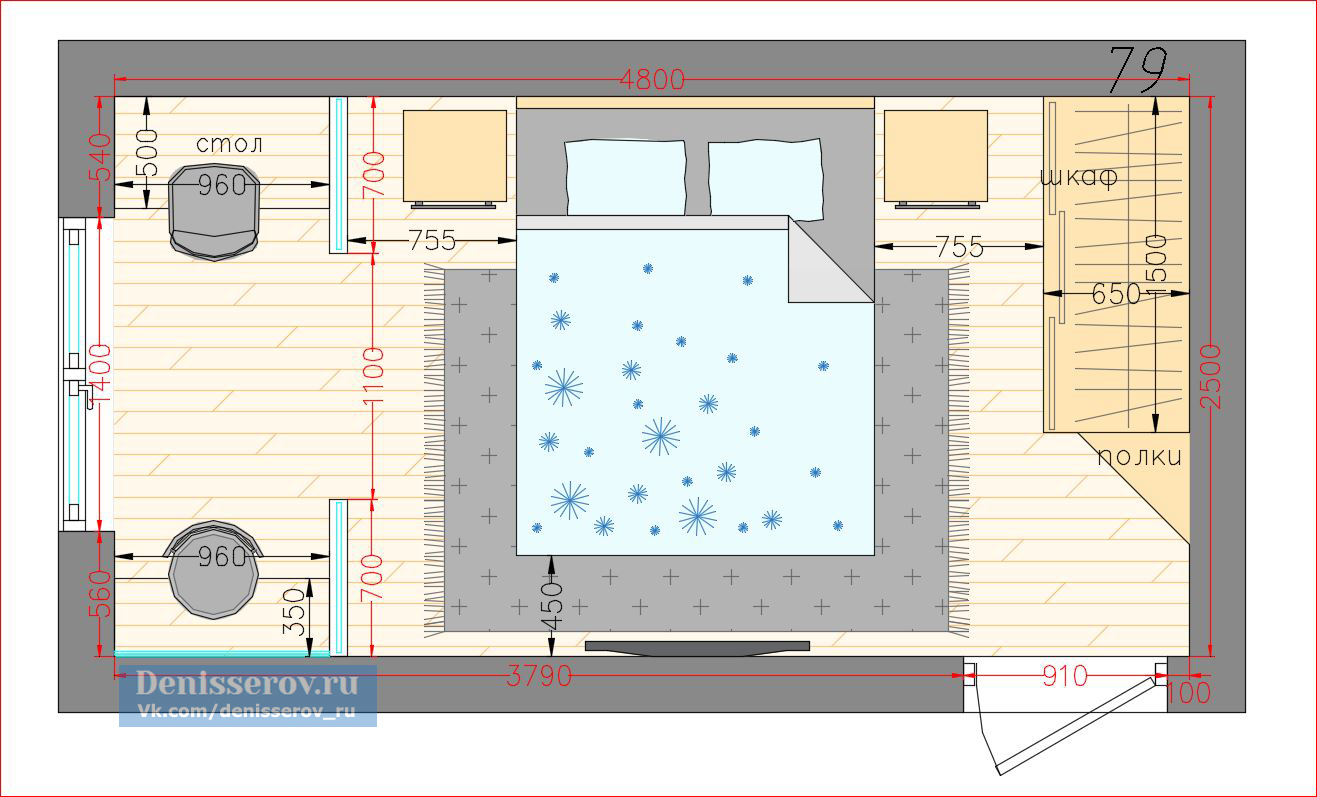 планировка прямоугольной спальни 12 кв м