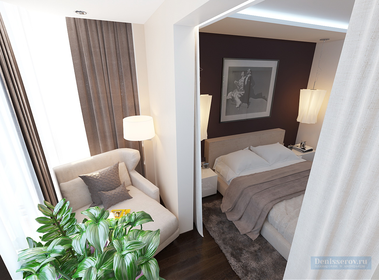 Дизайн спальни 17 кв.м. в стиле минимализм денис серов.