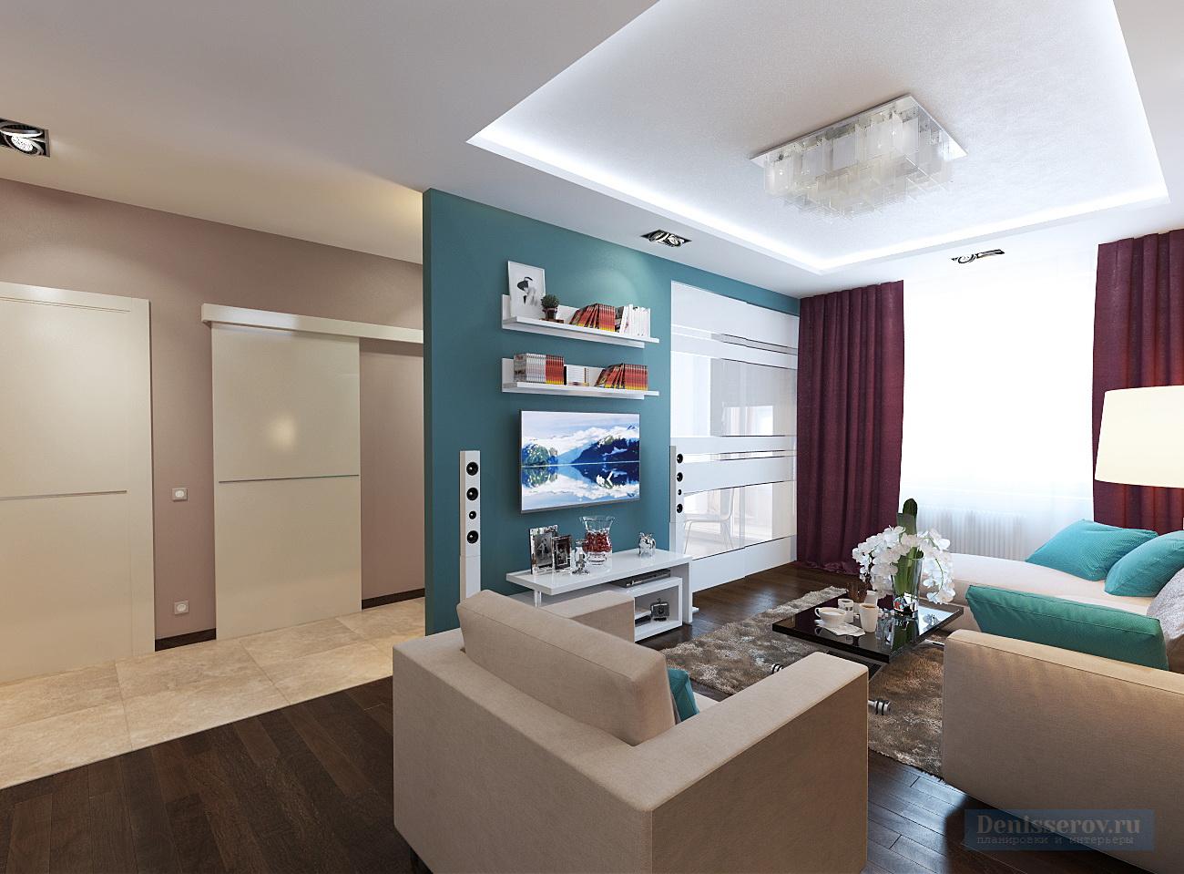 гостиная 14 кв.м. в трехкомнатной квартире