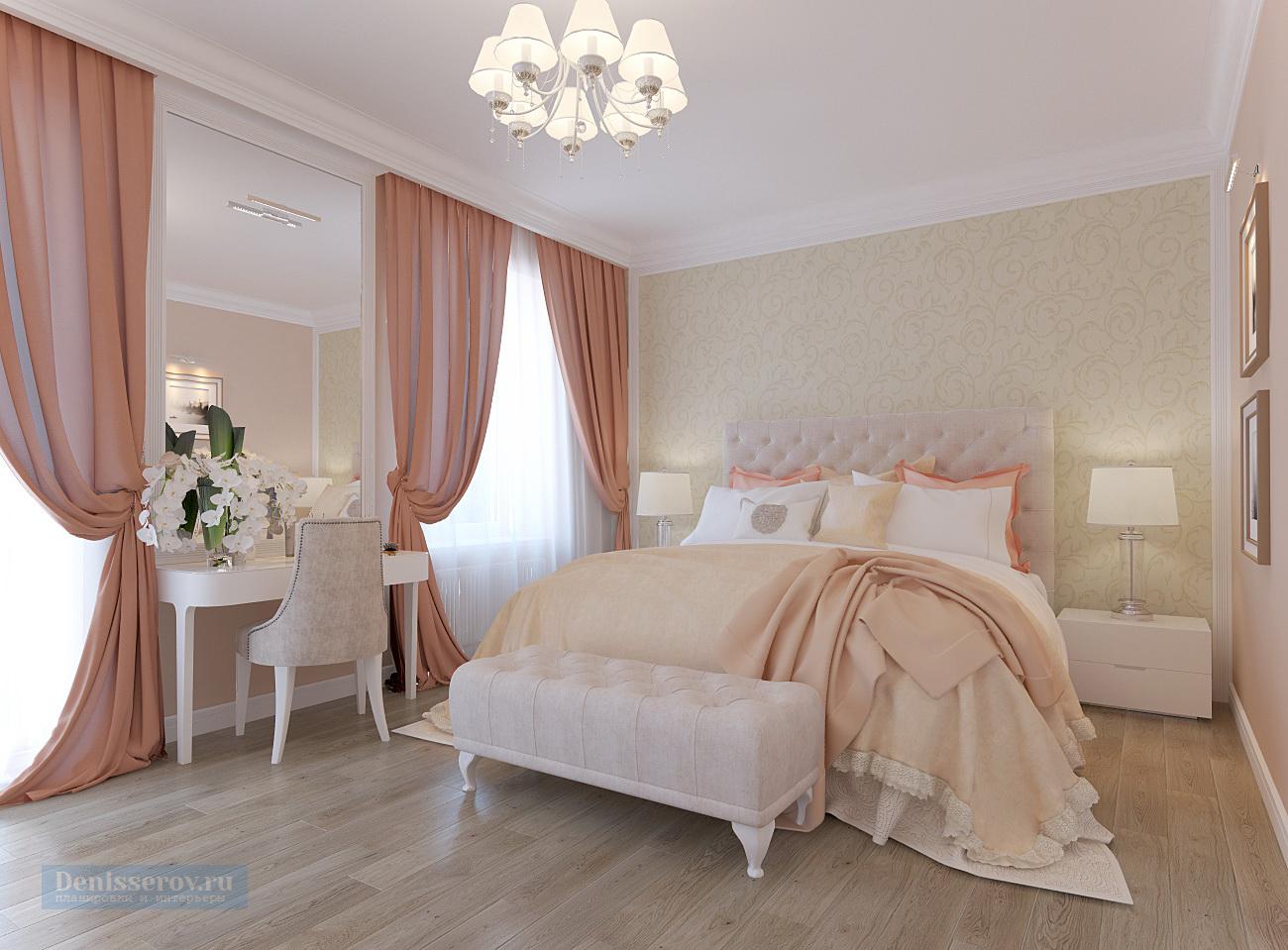 дизайн проект спальни 20 кв.м. в классическом стиле