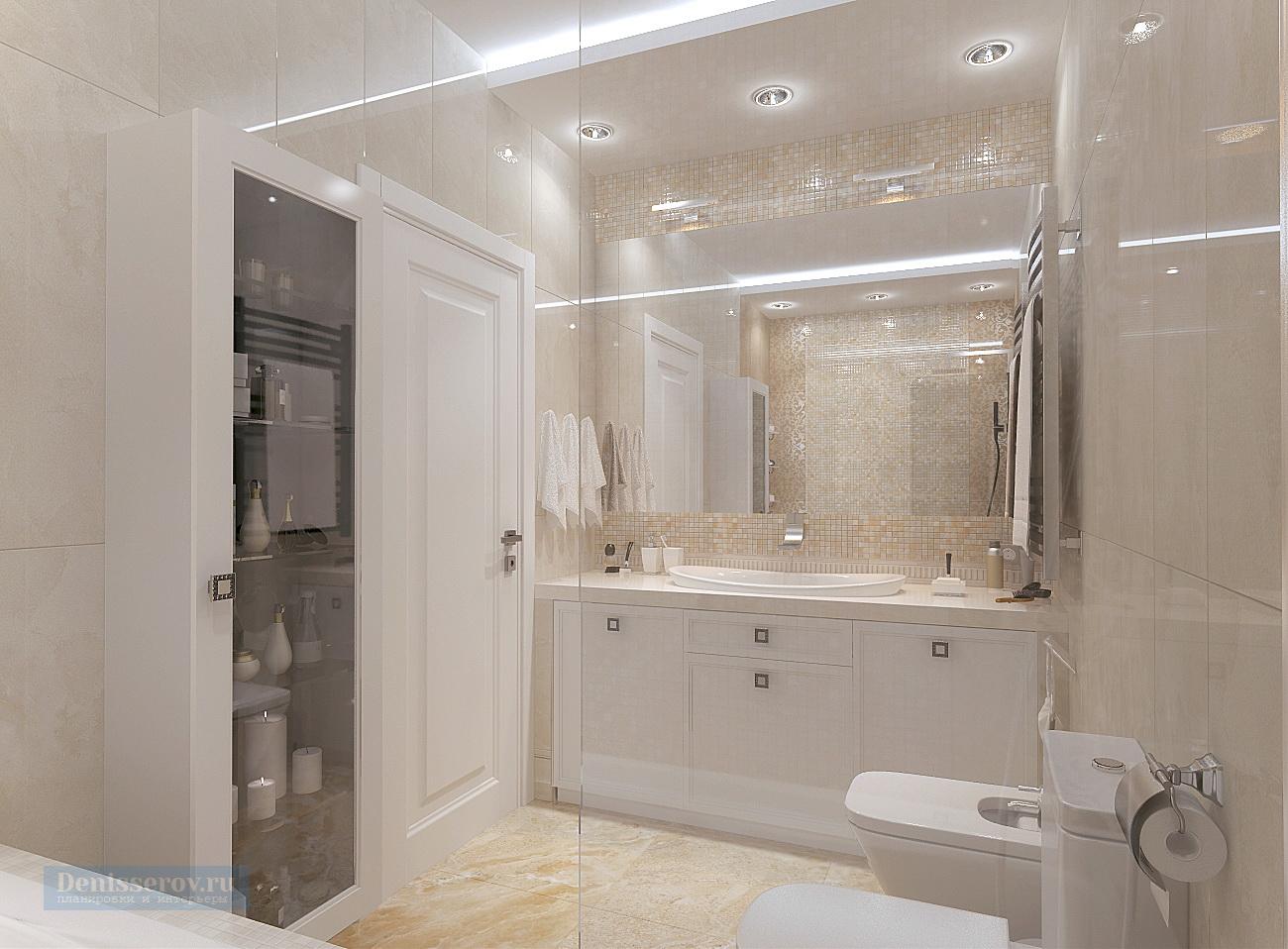 дизайн ванной 6 кв.м. в классическом стиле
