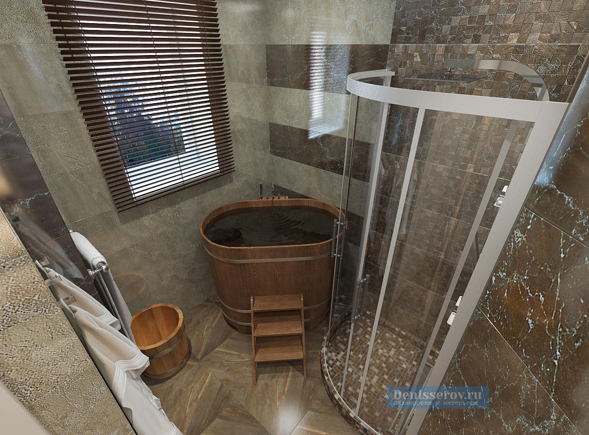 Проект ванной комнаты 5 кв. м с сауной