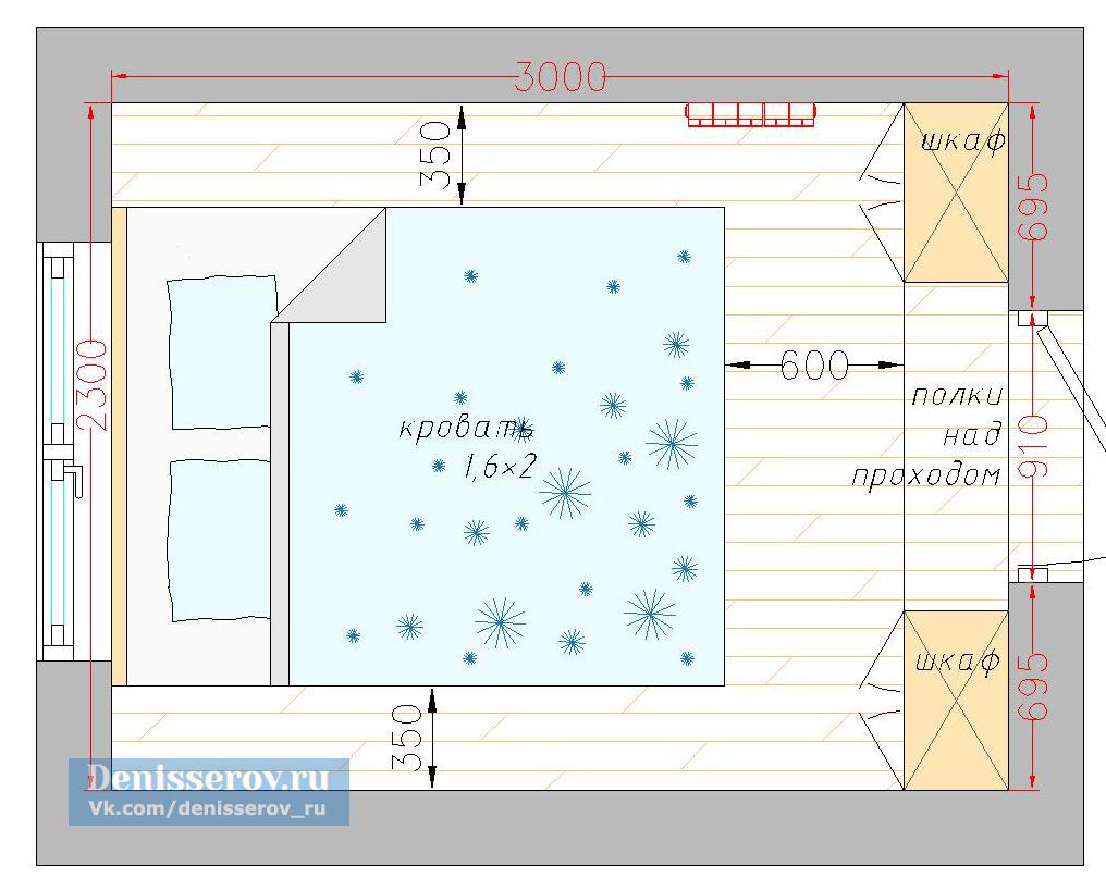Планировка маленькой спальни 7 кв.м.