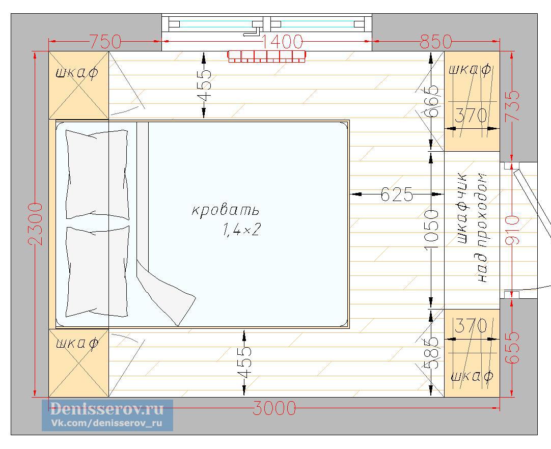 планировка спальня 7 кв.м.