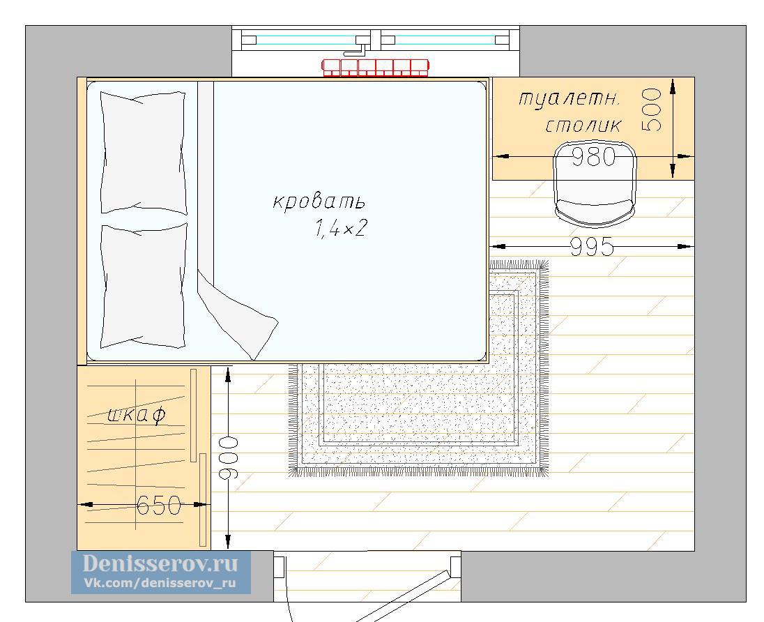 планировка спальня 7 кв.м. для двух человек