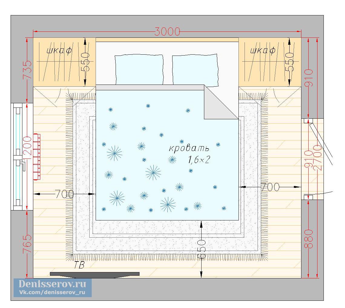 планировка спальни 8 кв.м. квадратная