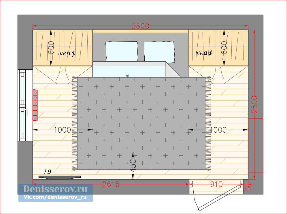 планировка спальни 9 кв.м.