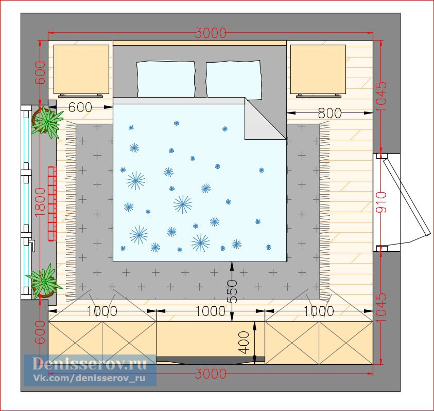 планировка спальн 9 кв.м. квадратной формы
