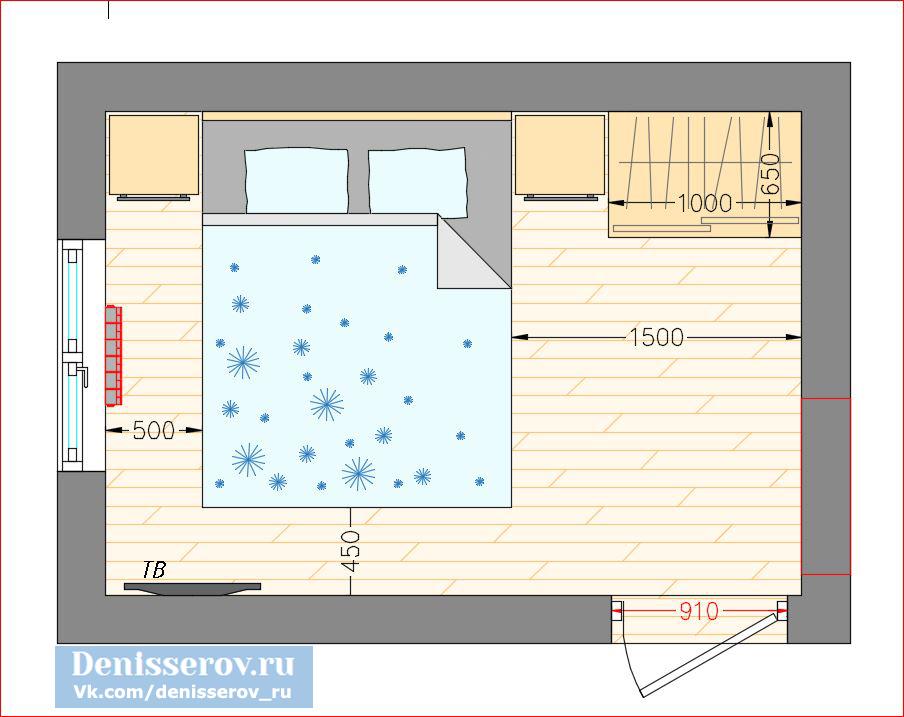 планировка спальни 9 кв.м. прямоугольной формы