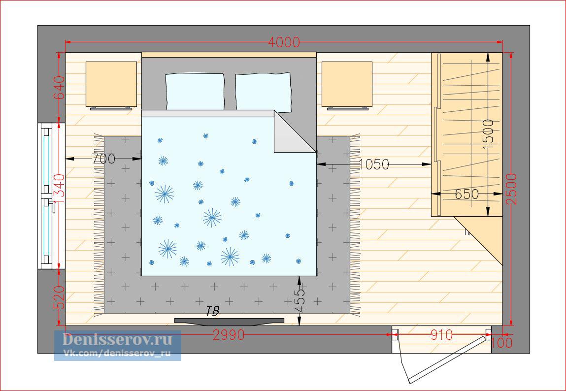 Планировка спальни 10 кв.м.  с фото и размерами