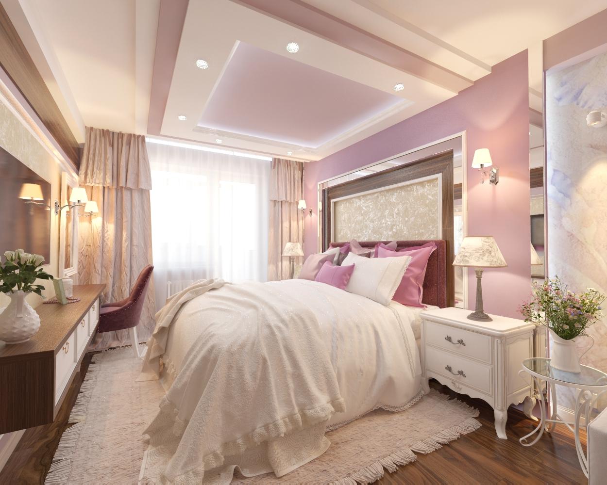 Дизайн проект спальни 18 кв.м. в сиреневом цвете для девушки