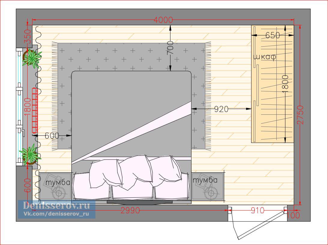 Планировка спальня 11 кв.м. с размерами и фото