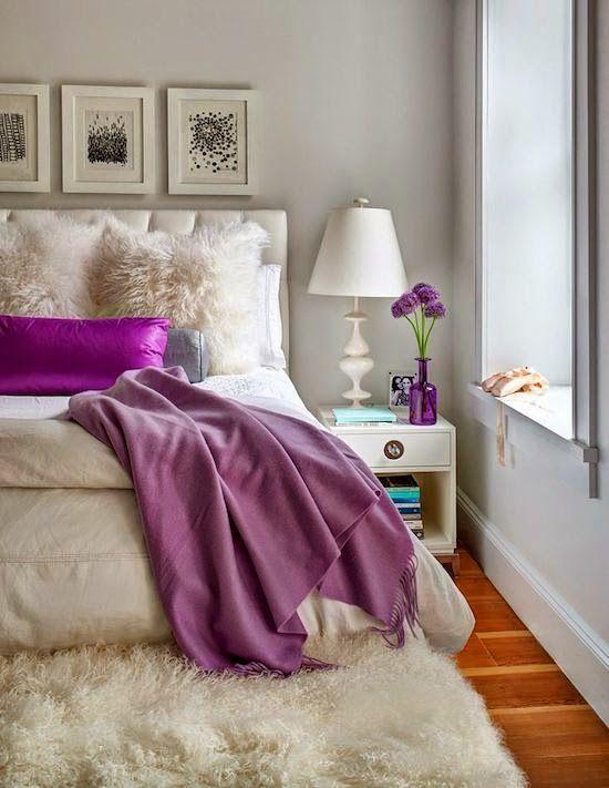 Сиреневый цвет в интерьере спальни с фото