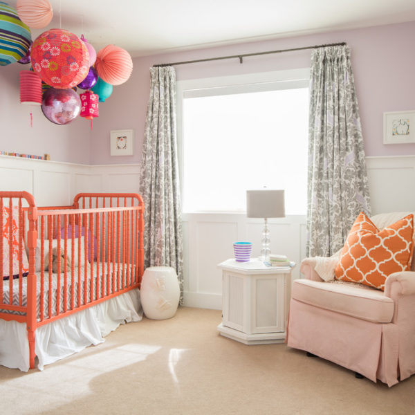 dutailier-Kids-Transitional-with-Amy-Butler-Fabric-coral-Eclectic-grey-lilac-jenny-lind-crib-lanterns-lavender