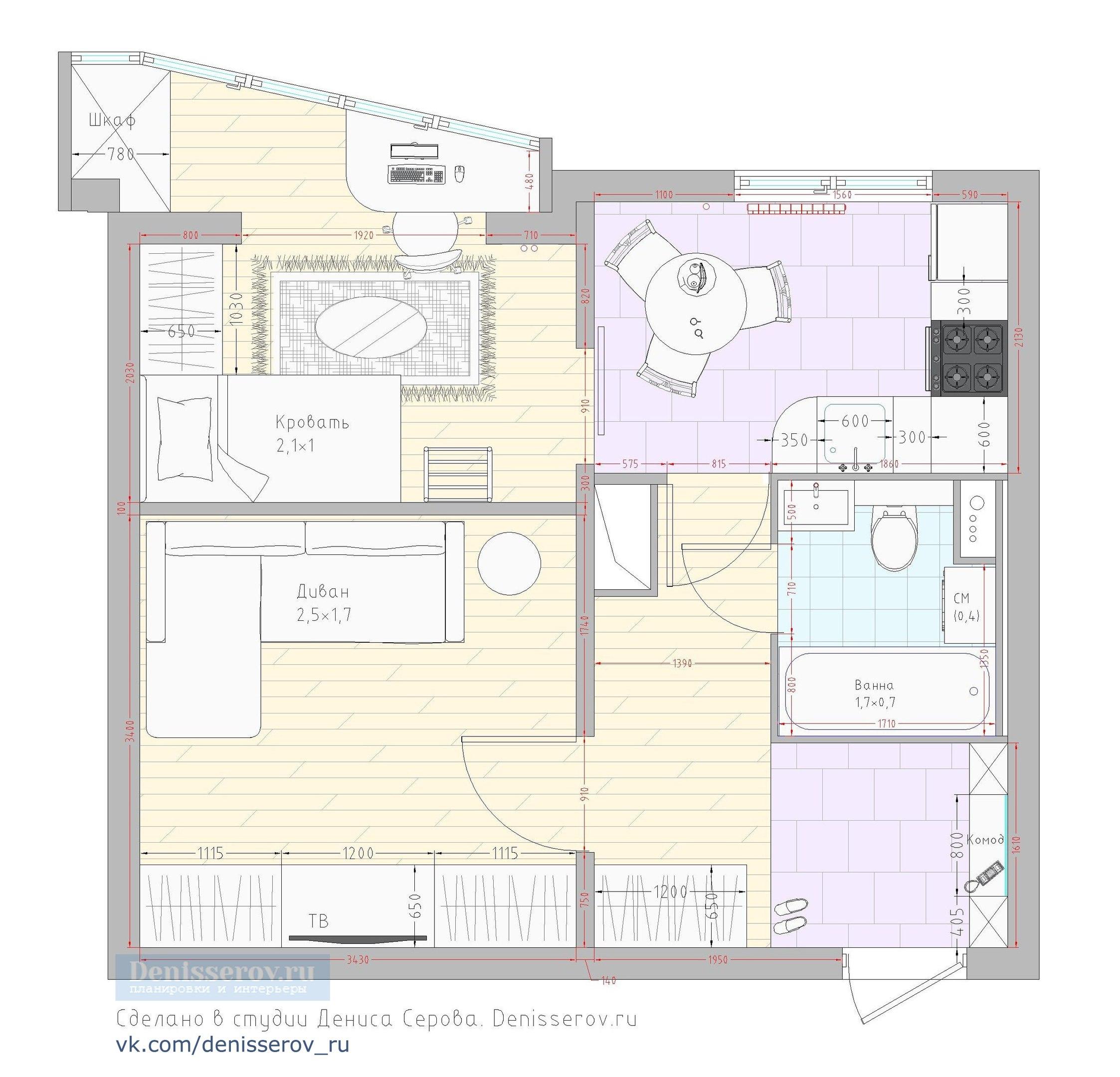 планировка 1 комнатной п44т с ребенком