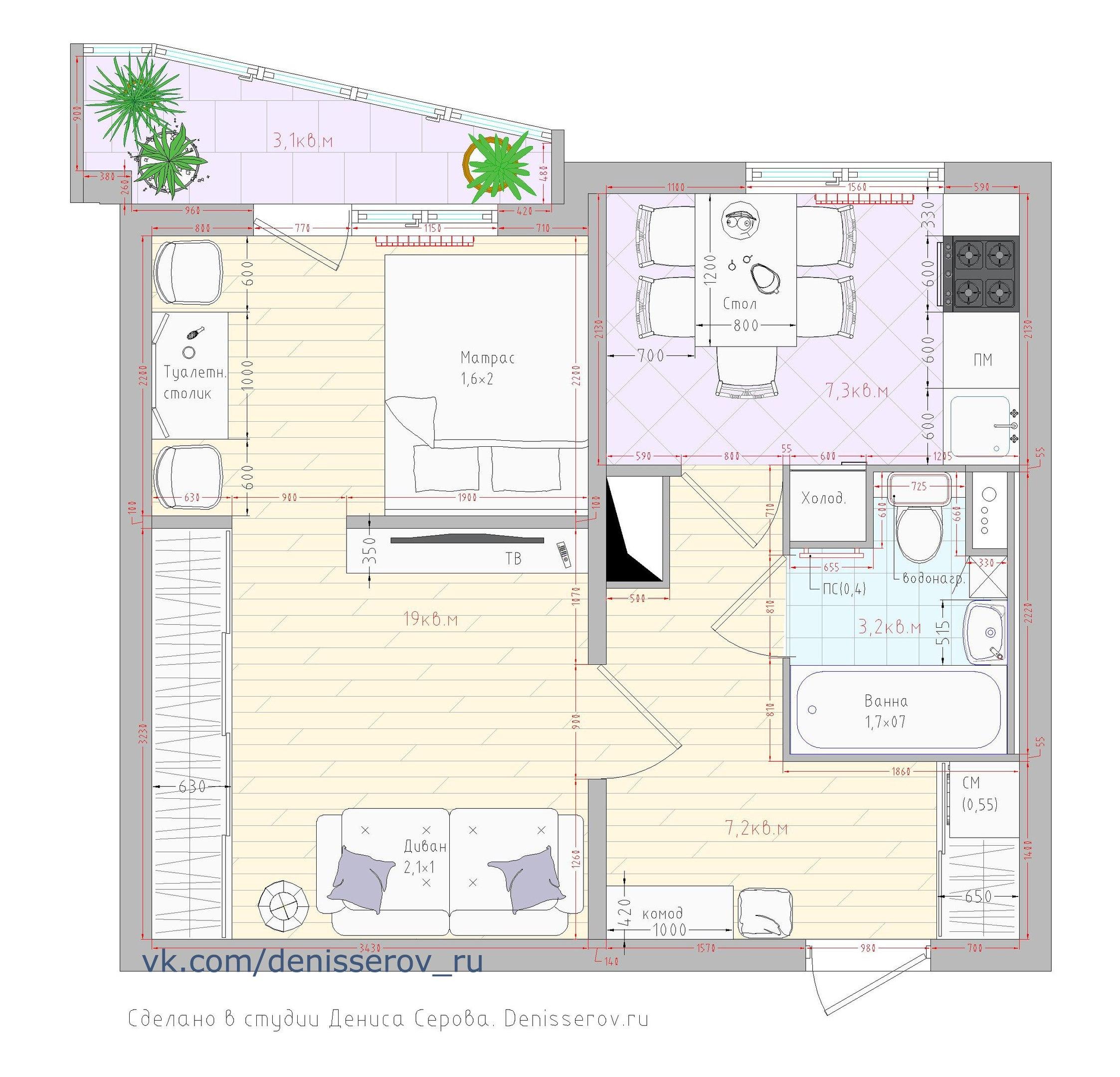 Планировка 1 однокомнатной квартиры п44т фото с размерами