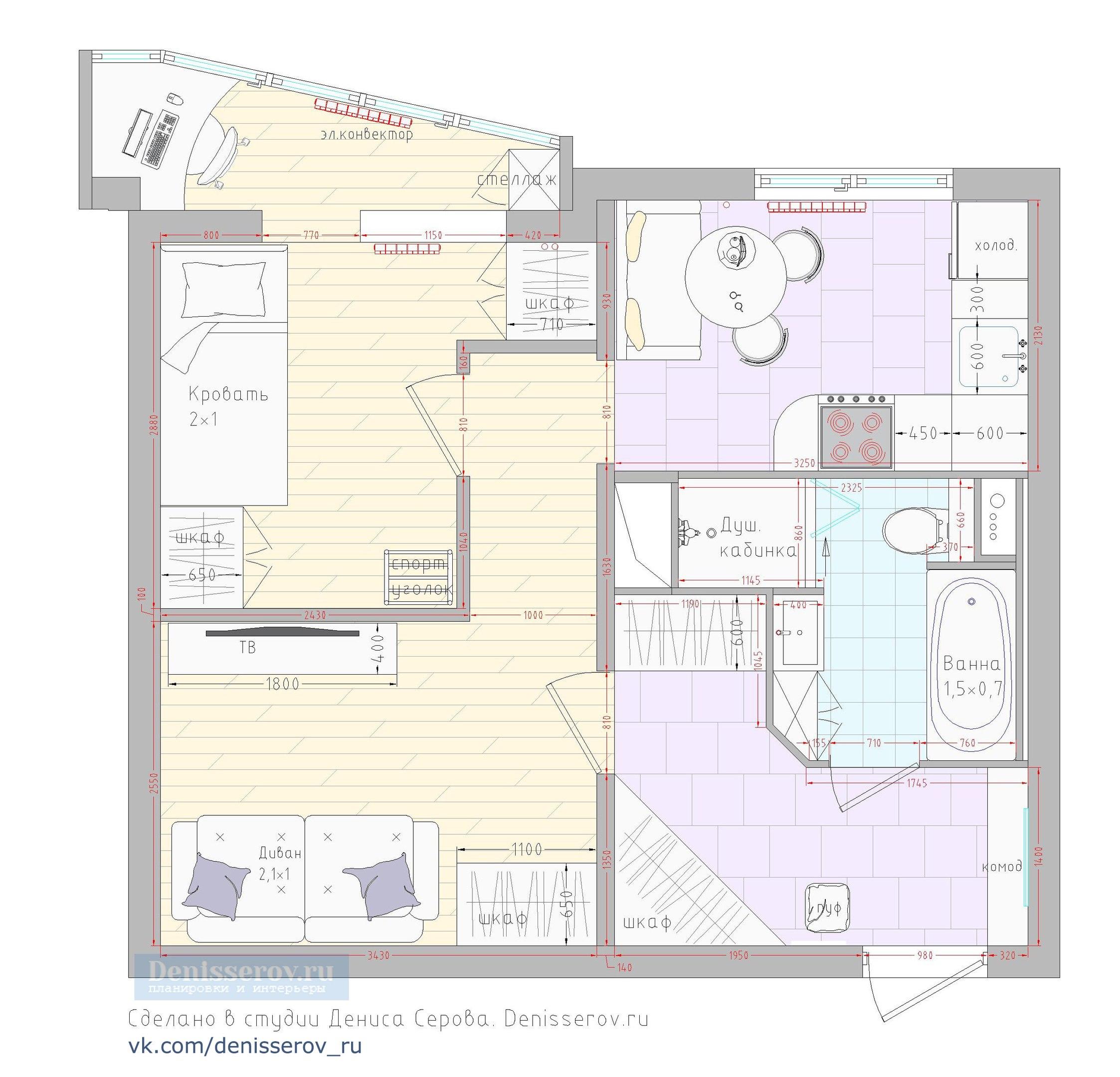 Планировка 1 однокомнатной квартиры п44т фото с размерами де.