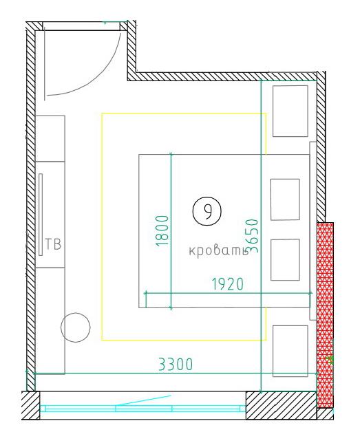 планировка спальни 12 кв.м.