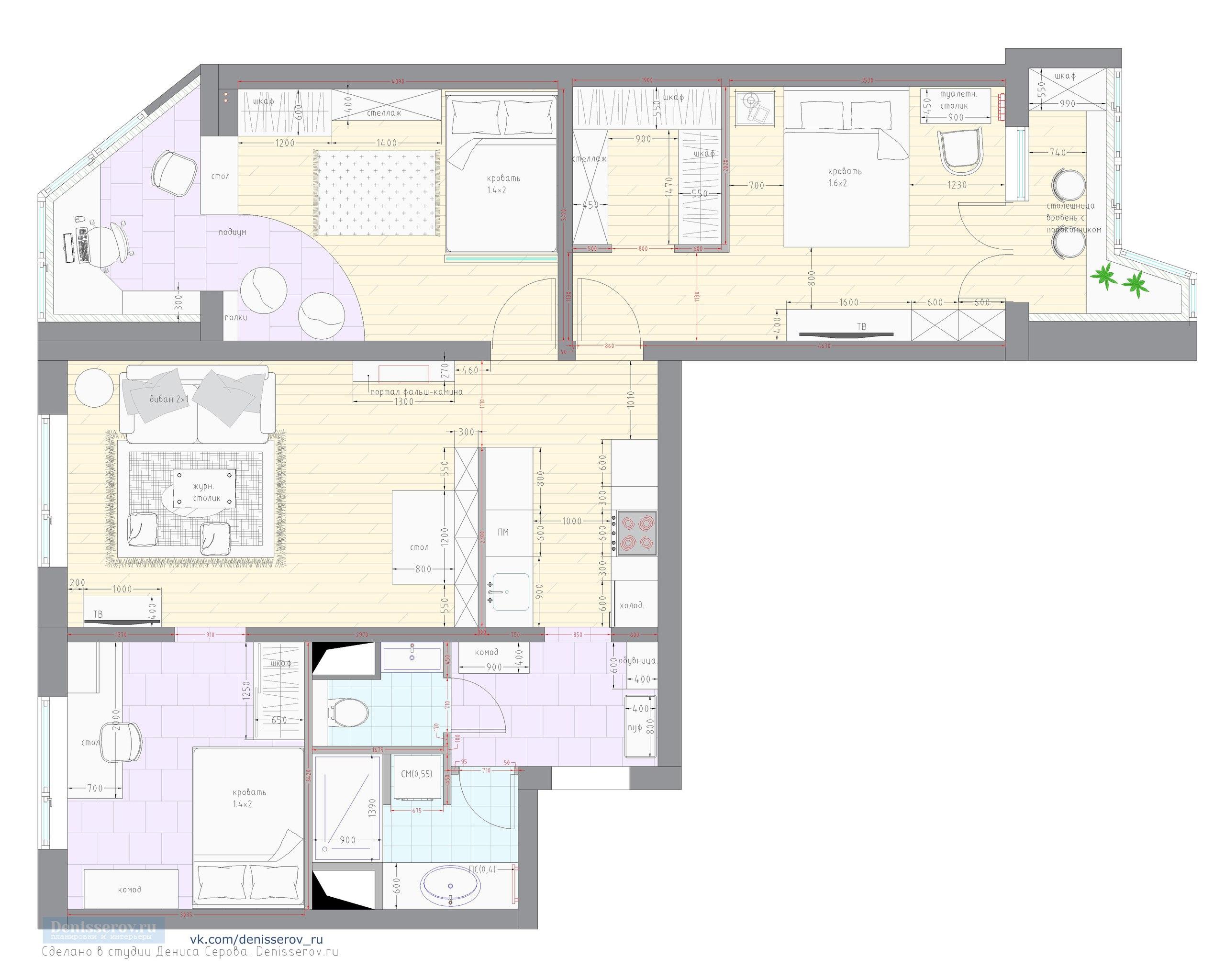 планировка трехкомнатной квартиры п-44т